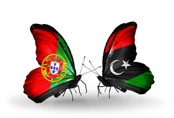 Two butterflies with flags Portugal and Libya