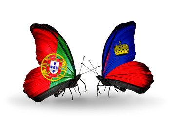 Two butterflies with flags Portugal and Liechtenstein
