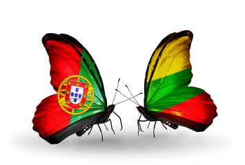 Two butterflies with flags Portugal and Lithuania