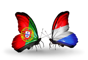 Two butterflies with flags Portugal and Luxembourg