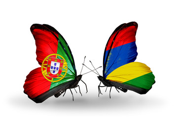 Two butterflies with flags Portugal and Mauritius