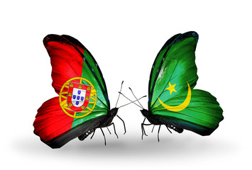 Two butterflies with flags Portugal and Mauritania