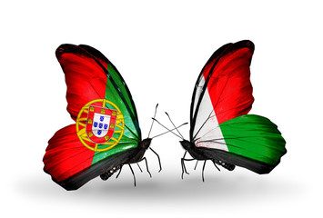 Two butterflies with flags Portugal and Madagascar