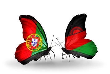 Two butterflies with flags Portugal and Malawi