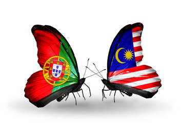 Two butterflies with flags Portugal and Malaysia