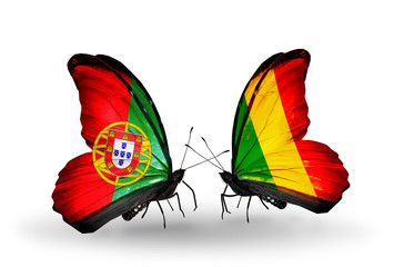 Two butterflies with flags Portugal and Mali
