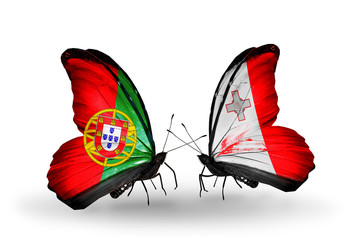 Two butterflies with flags Portugal and Malta