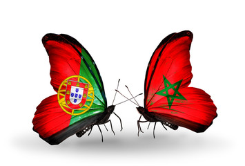 Two butterflies with flags Portugal and Morocco
