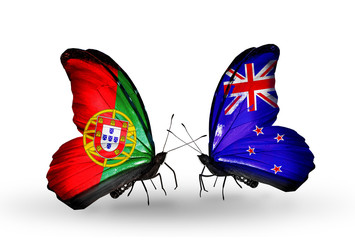 Two butterflies with flags Portugal and New Zealand