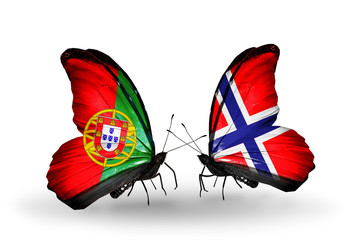 Two butterflies with flags Portugal and Norway