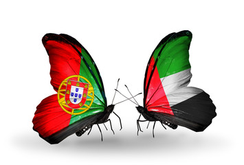 Two butterflies with flags Portugal and UAE