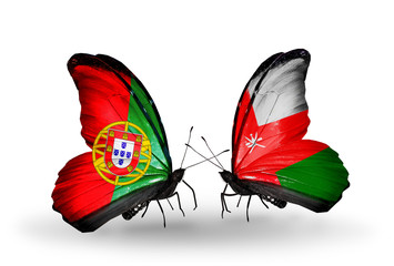 Two butterflies with flags Portugal and Oman