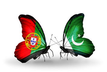 Two butterflies with flags Portugal and Pakistan