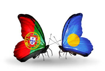 Two butterflies with flags Portugal and Palau