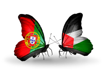 Two butterflies with flags Portugal and Palestine