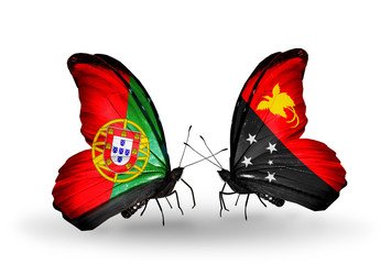 Two butterflies with flags Portugal and Papua New Guinea