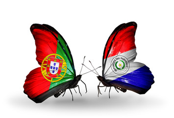 Two butterflies with flags Portugal and Paraguay