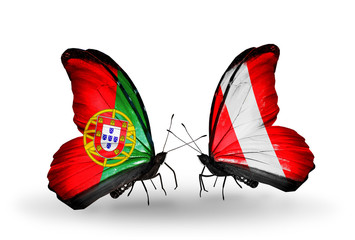 Two butterflies with flags Portugal and Peru