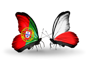 Two butterflies with flags Portugal and  Poland