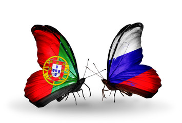Two butterflies with flags Portugal and Russia
