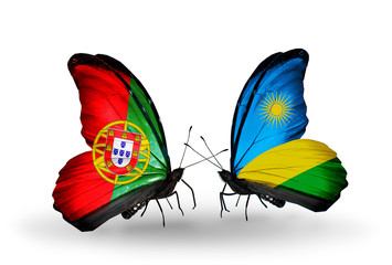 Two butterflies with flags  Portugal and  Rwanda