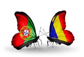 Two butterflies with flags Portugal and Chad, Romania