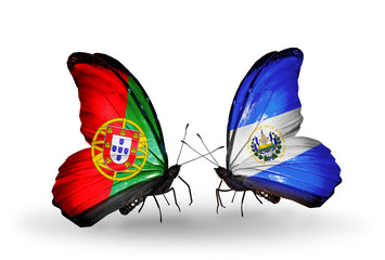 Two butterflies with flags Portugal and Salvador