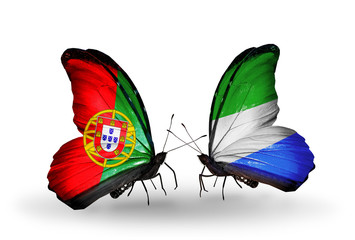 Two butterflies with flags Portugal and Sierra Leone