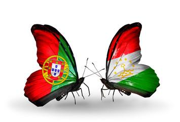 Two butterflies with flags Portugal and Tajikistan