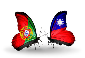 Two butterflies with flags Portugal and Taiwan