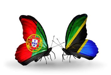 Two butterflies with flags Portugal and Tanzania