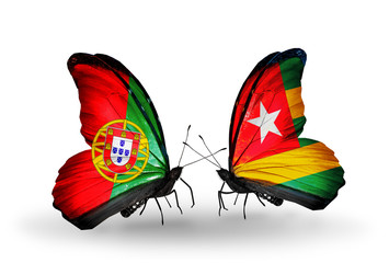 Two butterflies with flags Portugal and Togo