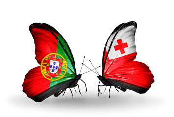 Two butterflies with flags Portugal and Tonga