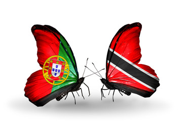 Two butterflies with flags Portugal and Trinidad and Tobago