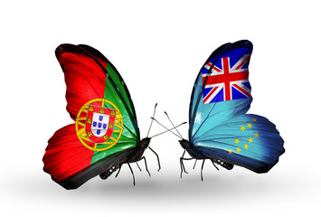 Two butterflies with flags Portugal and Tuvalu