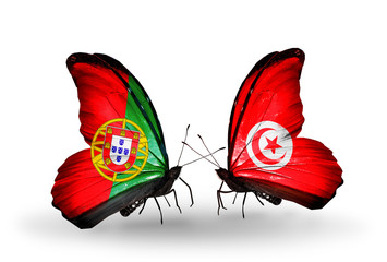 Two butterflies with flags Portugal and Tunisia