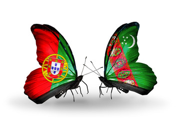 Two butterflies with flags Portugal and Turkmenistan