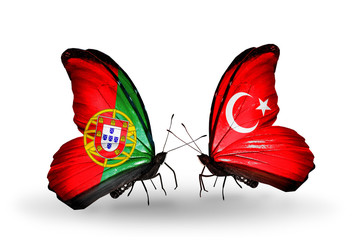 Two butterflies with flags Portugal and Turkey