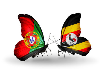 Two butterflies with flags Portugal and Uganda