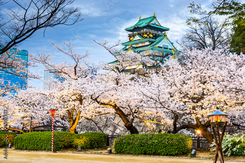 Poster Osaka, Japan at Osaka Castle during the spring season.