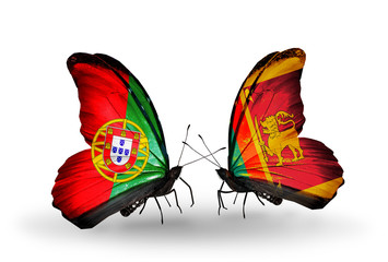 Two butterflies with flags Portugal and Sri Lanka