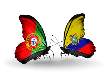 Two butterflies with flags Portugal and Ecuador