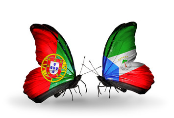 Two butterflies with flags Portugal and Equatorial Guinea