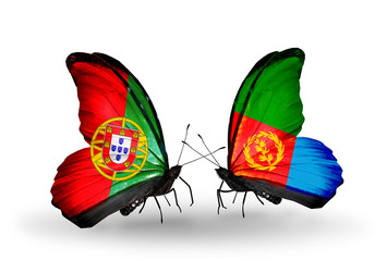 Two butterflies with flags Portugal and Eritrea