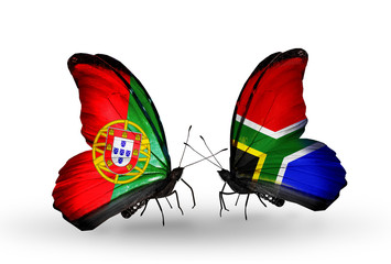 Two butterflies with flags Portugal and South Africa