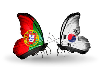 Two butterflies with flags Portugal and South Korea