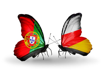 Two butterflies with flags Portugal and South Ossetia
