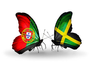 Two butterflies with flags Portugal and Jamaica