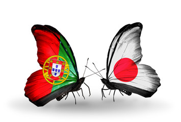 Two butterflies with flags Portugal and  Japan