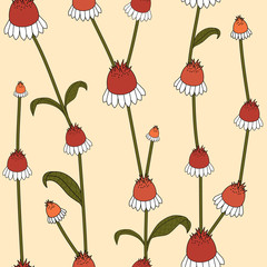 Seamless pattern with growing flowers